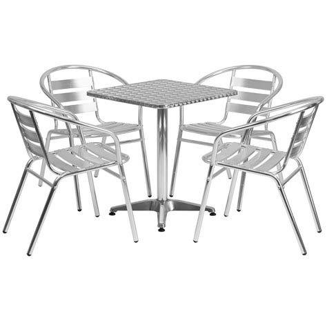 "Stainless Outdoor Table Set 23.5"" Square   Restaurant"