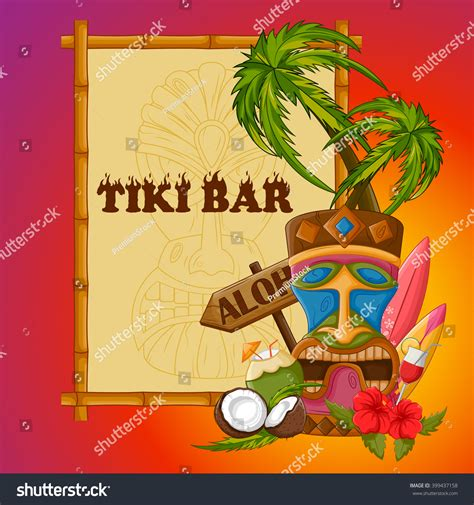 Vector Design Tiki Bar Poster Tribal Stock Vector 399437158 Shutterstock Tiki Bar Menu Template