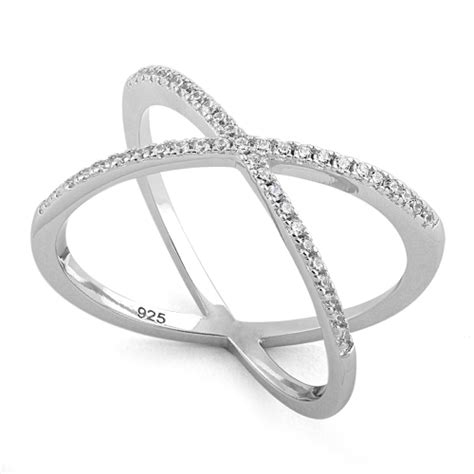 Cz Silver X Ring sterling silver overlapping x cz ring