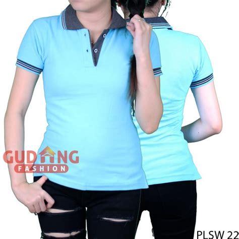 Kaos Fashion 22 kaos wanita berkerah lengan pendek cotton pique biru benhur kerah abu plsw 22 gudang fashion