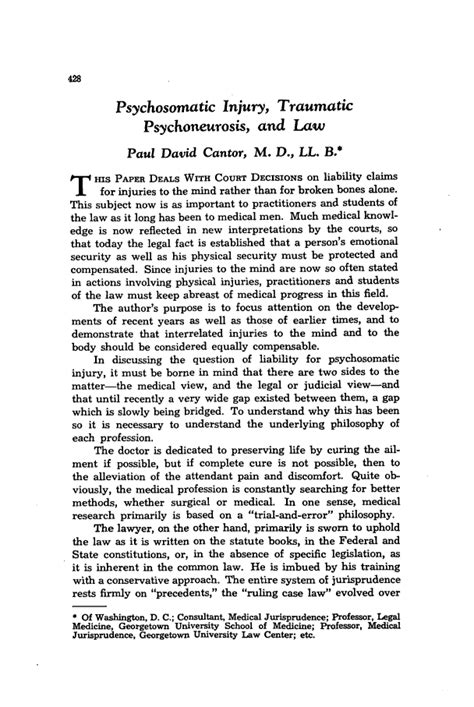 psychosomatic injury traumatic psychoneurosis  law  cleveland marshall law review