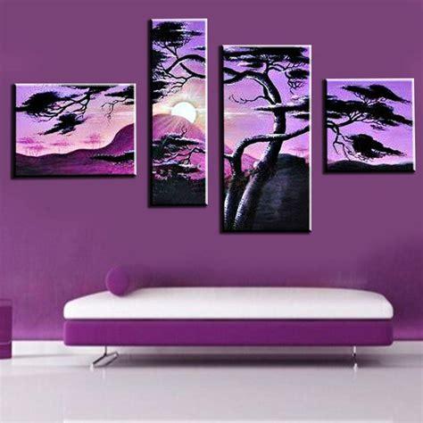 tree modern canvas art wall decor landscape oil painting 4 piece hand painted oil painting purple sunrise tree