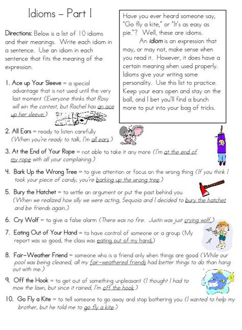 idiom worksheets idioms ebook