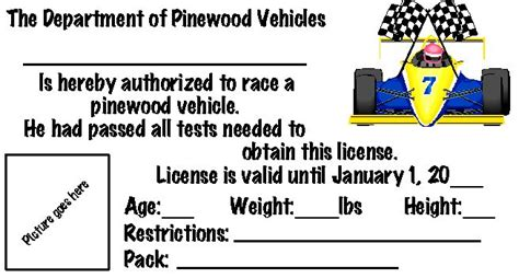pinewood derby drivers license template 17 best images about pinwood derby on cars