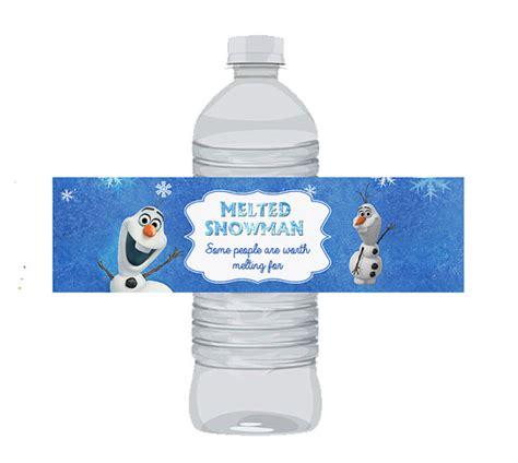 frozen water bottle wrapper olaf birthday water bottle olaf water bottle party invitations ideas