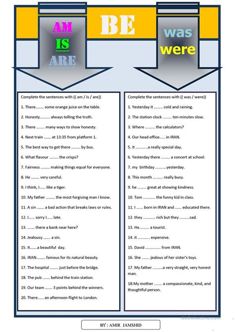 free printable worksheets was were am is are was were worksheet free esl printable