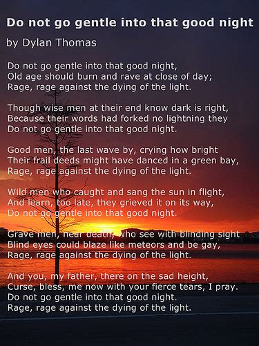 do not go gently into that night rage rage against your do not go gentle into that good night poem by dylan