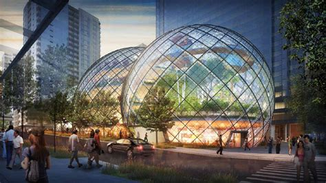 New Apple Headquarters by Nbbj Adds Glass Biospheres To Amazon Headquarters Proposal