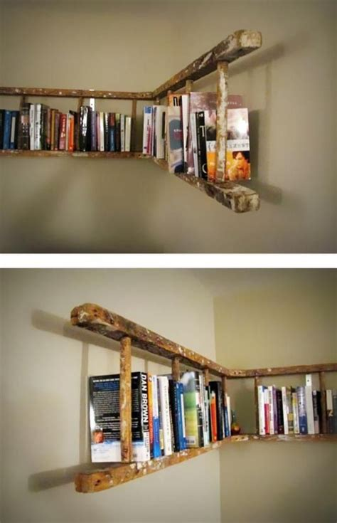 ladder into shelving repurpose ideas inspiration