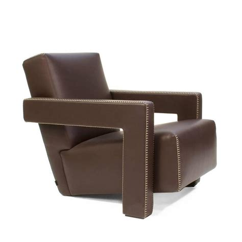 Modern Brown Leather Armchair Cassina Brown Leather Utrecht Armchair By Gerrit Rietveld