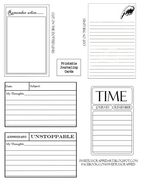 free journal card templates sweetly scrapped free printable journaling cards