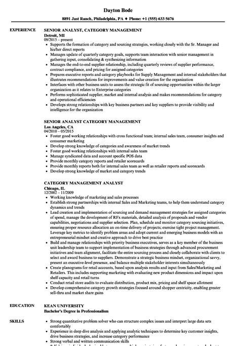 category management analyst resume sles velvet