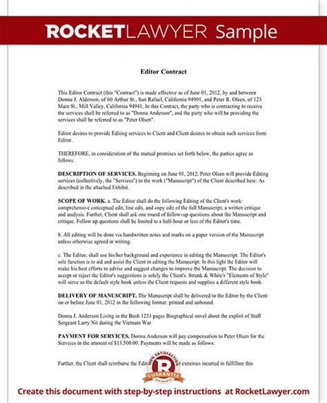 editor contract freelance editor agreement with sle