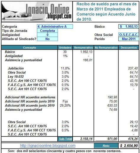 modelo de recibo para uocra empleados de comercio liquidaci 243 n de sueldo marzo de 2011