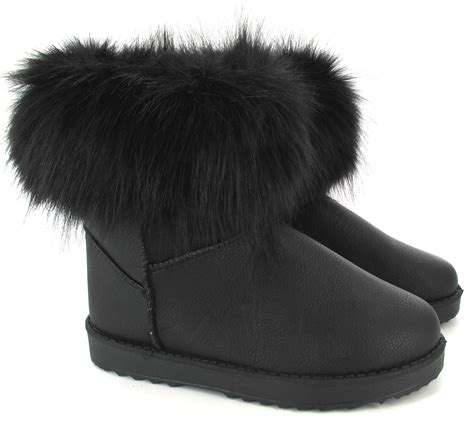 boots with fur womens quilted winter fur lined fashion snow ankle