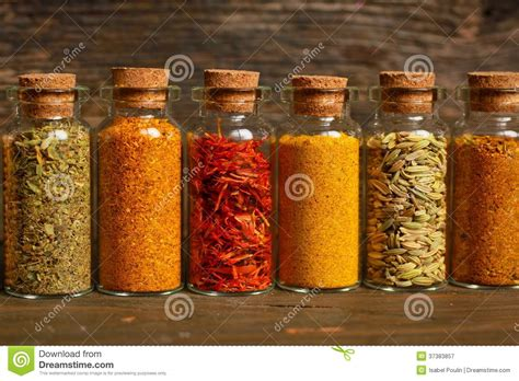 Herb And Spice Jars Spices Herbs And Seeds Royalty Free Stock Photography