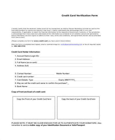 Credit Card Verification Form Sle Verification Form