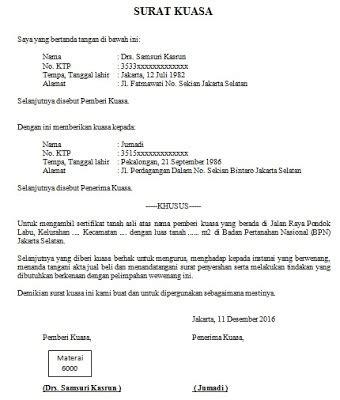 contoh format surat kuasa pengambilan uang di bank cara buat surat