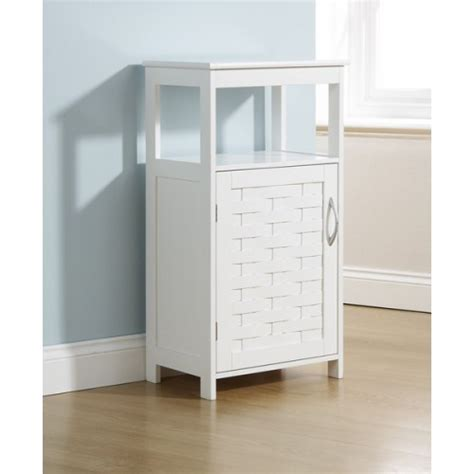 white bathroom floor cupboard 1 door cabinet open shelf