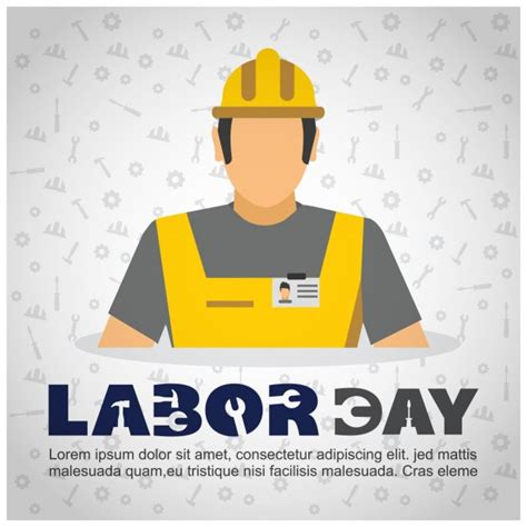 layout worker labor day worker with helmet background vector free download