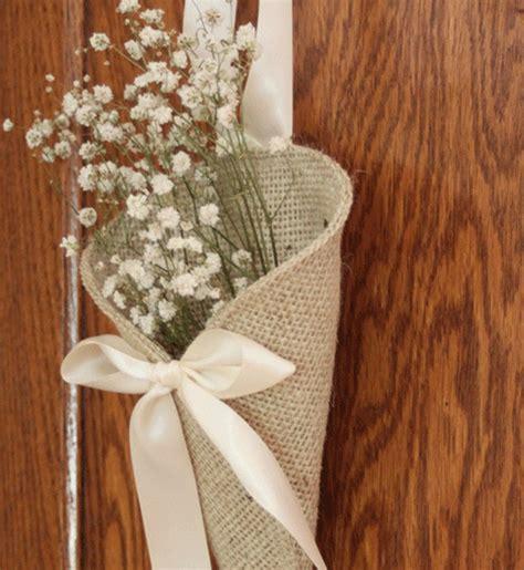 Wedding Pew Decorations by Khaki Burlap Pew Cone Rustic Wedding Decor By