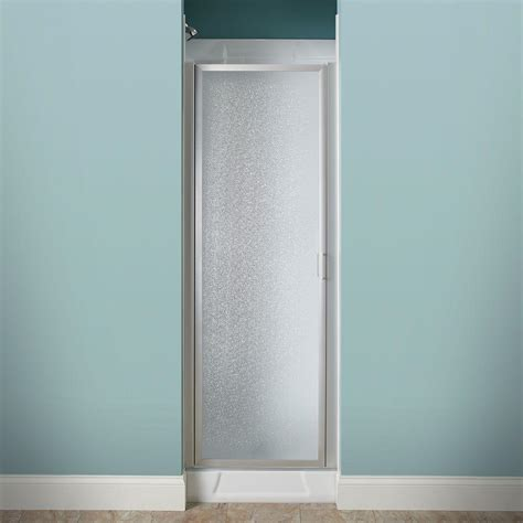 24 In X 64 In Framed Pivot Shower Door Kit In Silver Pebbled Glass Shower Door