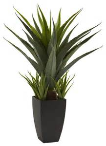 Decorative Plants For Home Nearly Natural Agave With Black Planter Decorative Plant