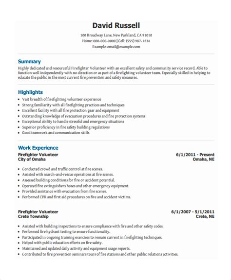 firefighter resume template 7 firefighter resume templates pdf doc free