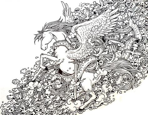 anti stress coloring book doodle and color your stress away pegasus doodle coloring pages colouring detailed