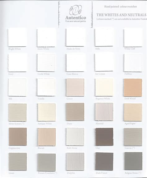 autentico chalk paint stockists east autentico vintage colour chart the whites and neutrals