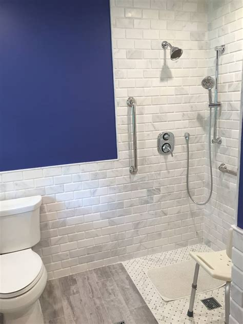 Marble Subway Tile Bathroom Beveled Marble Subway Tile Design Build Pros