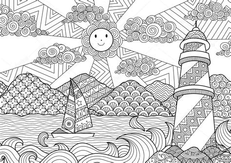 anti stress coloring books pdf seascape line design for coloring book for anti