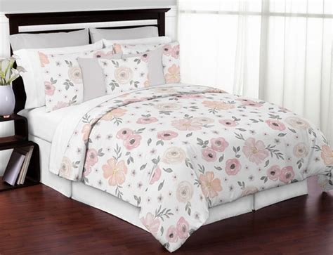 Pink And Grey Bedding by Blush Pink Grey And White Shabby Chic Watercolor Floral