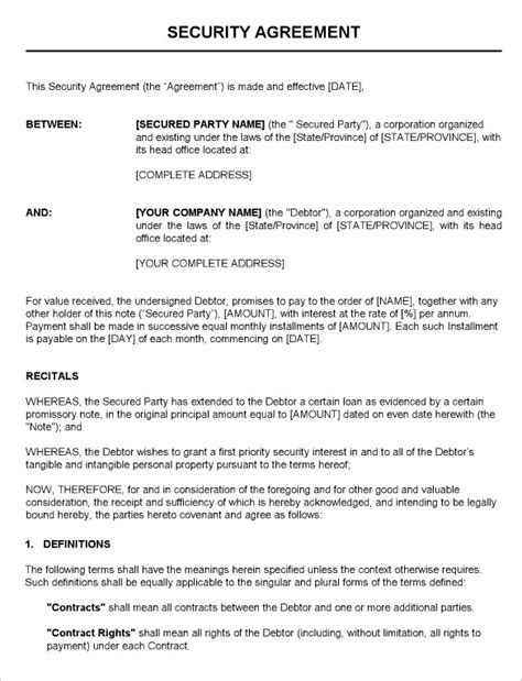 security service agreement template 11 security contract