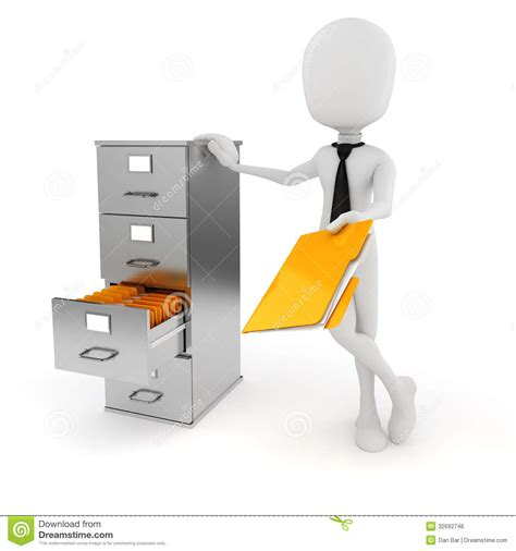 3d Man Business Man And File Cabinet Stock Illustration