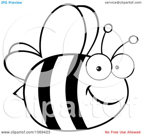 cartoon white bee cartoon black and white