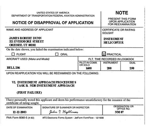 Sle Completed Faa Form 8060 5 Notice Of Disapproval Of Application Denying An Instrument Advisory Notice Template