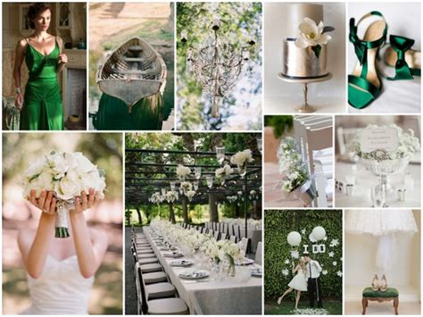 inspiration board green white silver wedding theme