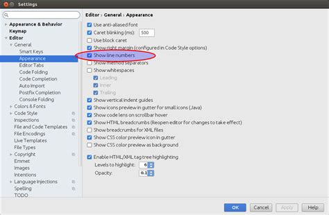 xml number no line numbers in eclipse or android studio xml editor