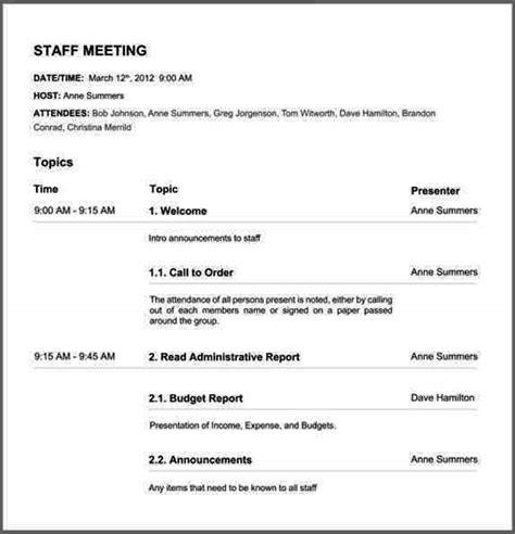 board agenda template non profit nonprofit board meeting agenda template sle templates