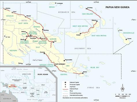 new guinea map papua new guinea roads map