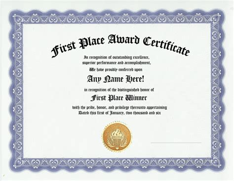 winner certificate template place award recognition winner awards certificate ebay