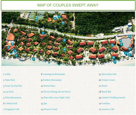 Couples Resorts Locations Map Of Couples Swept Away Sunset Travel Inc