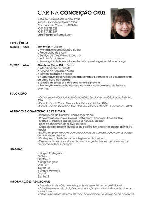 Modelo Curriculum Barman Modelo De Curriculum Barman Exemplo De Cv Gar 231 Om Livecareer