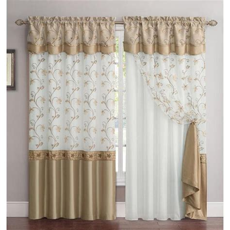 window curtains with attached valance vcny audrey 2 layer curtain panel with attached backing