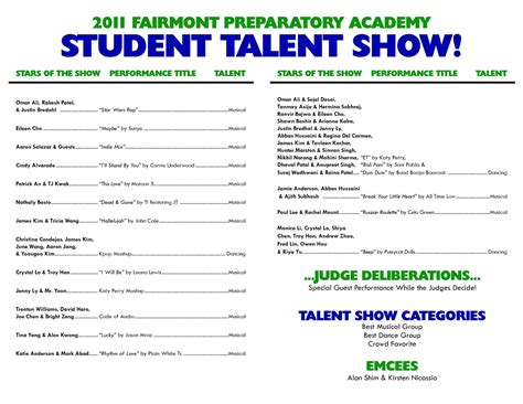 talent show program template variety show program template images