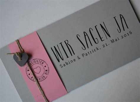 Hochzeitseinladung Pink by Hochzeitskarten Handgefertigt I Kraftpapiere Oder Naturpapiere