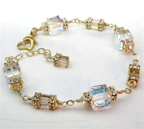Swarovski Handmade Jewelry - custom wedding bracelet swarovski cube