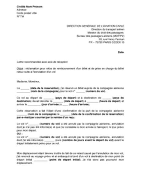 Lettre De Demande De Visa D Affaire Lettre De R 233 Clamation 224 La Dgac Pour Refus De Remboursement D Un Billet D Avion Et De Prise En
