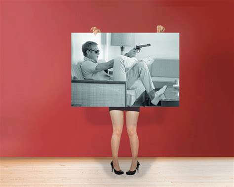 steve mcqueen sofa and gun poster steve mcqueen sofa gun the king of cool poster rolled art